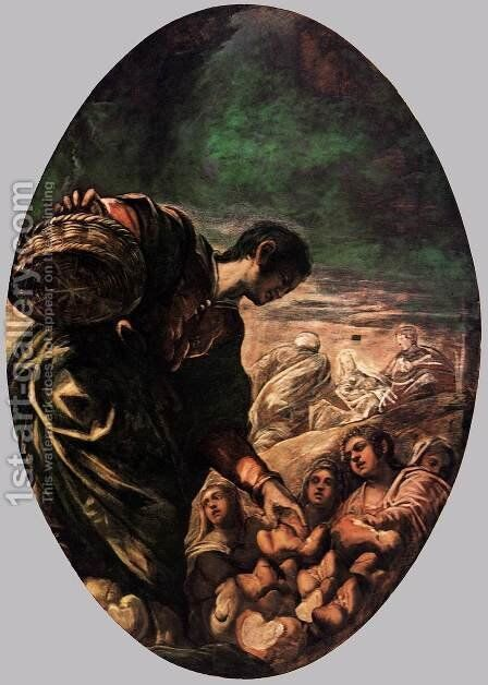Elisha Multiplies the Bread 2 by Jacopo Tintoretto (Robusti) - Reproduction Oil Painting