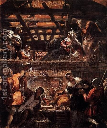 The Adoration of the Shepherds 2 by Jacopo Tintoretto (Robusti) - Reproduction Oil Painting