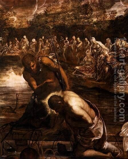 The Baptism of Christ (detail) 2 by Jacopo Tintoretto (Robusti) - Reproduction Oil Painting