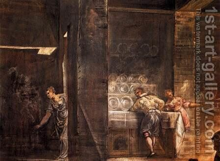 The Last Supper (detail) by Jacopo Tintoretto (Robusti) - Reproduction Oil Painting