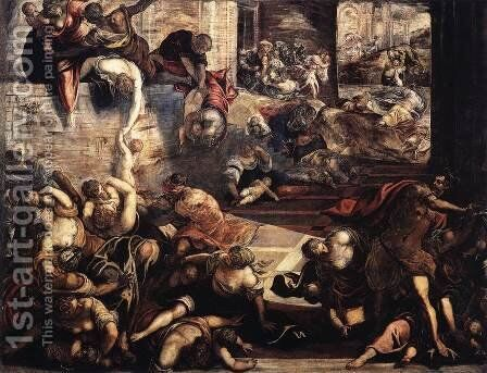 The Massacre of the Innocents (detail) by Jacopo Tintoretto (Robusti) - Reproduction Oil Painting