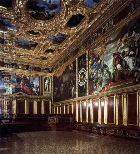 View of the Sala del Collegio by Jacopo Tintoretto (Robusti) - Reproduction Oil Painting