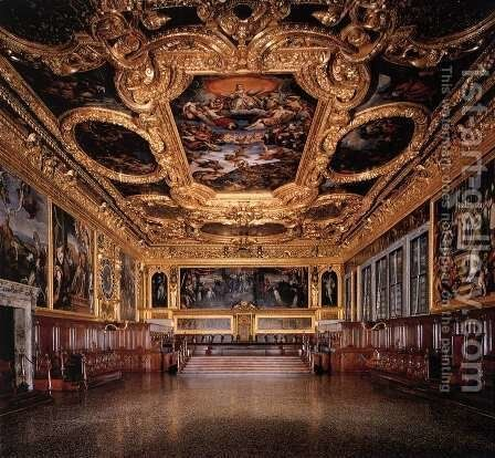 View of the Hall of the Senate by Jacopo Tintoretto (Robusti) - Reproduction Oil Painting