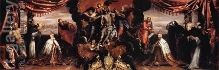 The Dead Christ Adored by Doges Pietro Lando and Marcantonio Trevisan (detail) by Jacopo Tintoretto (Robusti) - Reproduction Oil Painting