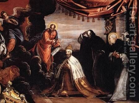 The Dead Christ Adored by Doges Pietro Lando and Marcantonio Trevisan (detail) 3 by Jacopo Tintoretto (Robusti) - Reproduction Oil Painting