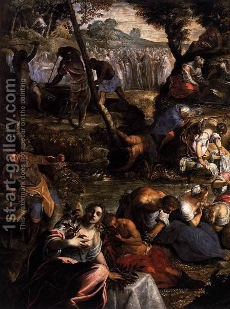 The Jews in the Desert (detail) by Jacopo Tintoretto (Robusti) - Reproduction Oil Painting