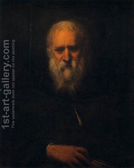 Self-Portrait with a Book by Jacopo Tintoretto (Robusti) - Reproduction Oil Painting