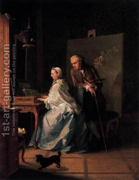 Portrait of the Artist and His Wife at the Spinet by Johann Heinrich The Elder Tischbein - Reproduction Oil Painting