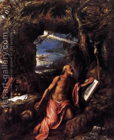 St Jerome 6 by Tiziano Vecellio (Titian) - Reproduction Oil Painting