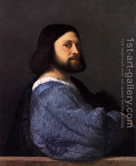 Man with the Blue Sleeve by Tiziano Vecellio (Titian) - Reproduction Oil Painting