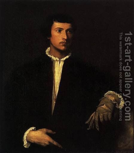 Man with a Glove 2 by Tiziano Vecellio (Titian) - Reproduction Oil Painting
