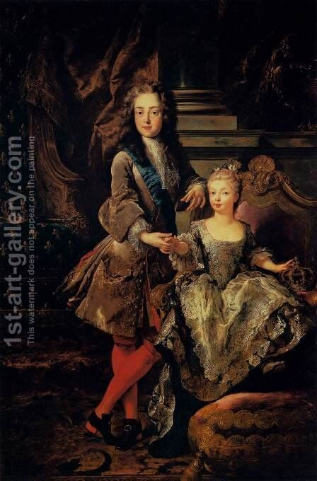 Portrait of Louis XV of France and Maria Anna Victoria of Spain by Jean François de Troy - Reproduction Oil Painting