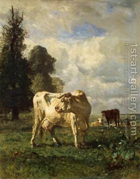Cows in the Field by Constant Troyon - Reproduction Oil Painting