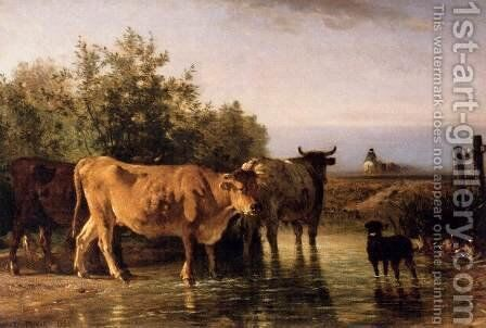 The Ford by Constant Troyon - Reproduction Oil Painting