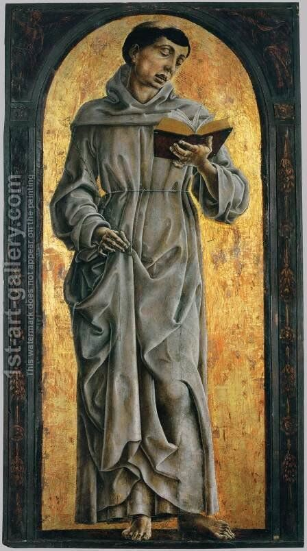 St Anthony of Padua Reading by Cosme Tura - Reproduction Oil Painting