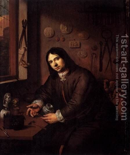 Portrait of a Silversmith in His Workshop by Dutch Unknown Masters - Reproduction Oil Painting