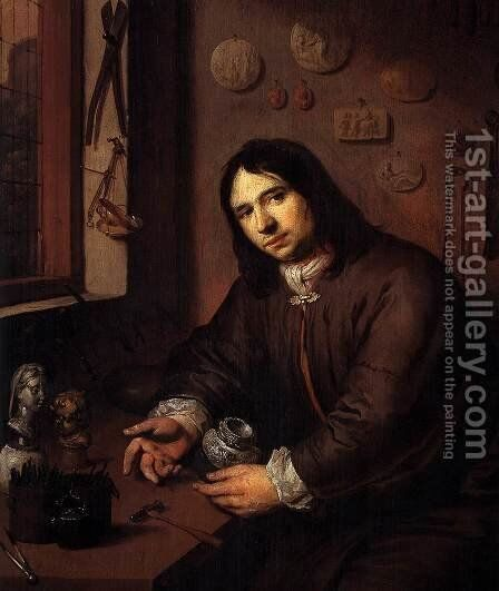 Portrait of a Silversmith in His Workshop (detail) by Dutch Unknown Masters - Reproduction Oil Painting
