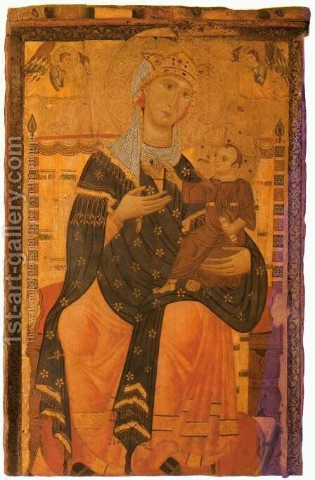 Madonna Enthroned with the Christ Child by Italian Unknown Master - Reproduction Oil Painting