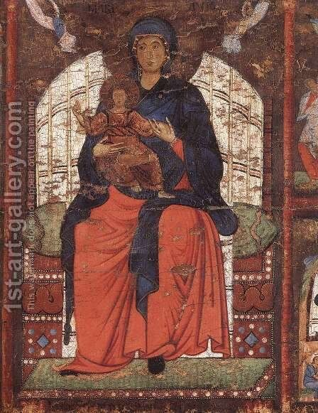 Virgin and Child Enthroned with Scenes from the Life of the Virgin (detail) by Italian Unknown Master - Reproduction Oil Painting