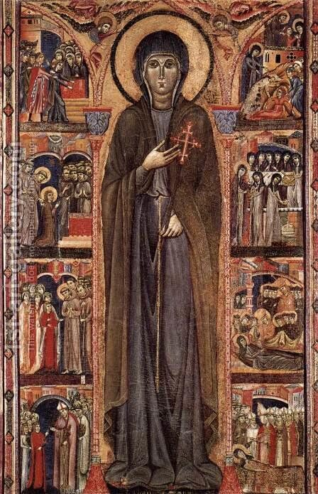 Altarpiece of St Clare 2 by Italian Unknown Master - Reproduction Oil Painting