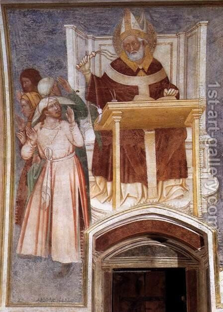 St Ambrose Enthroned Flagellating Two Heretics by Italian Unknown Master - Reproduction Oil Painting