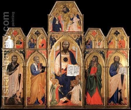 St Paul Enthroned with Saints and Angels by Italian Unknown Master - Reproduction Oil Painting