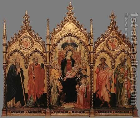 Madonna and Child Enthroned with Saints by Italian Unknown Master - Reproduction Oil Painting