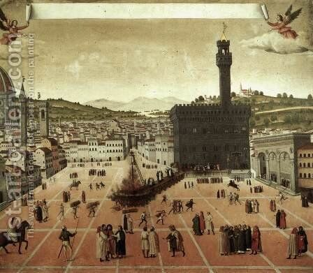 Execution of Savonarola on the Piazza della Signoria by Italian Unknown Master - Reproduction Oil Painting