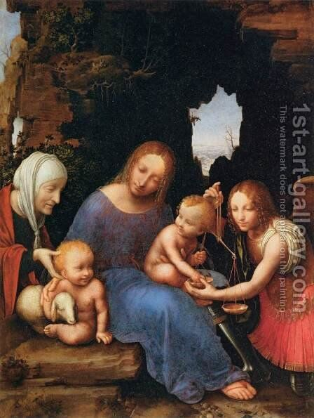 Virgin and Child with Sts Elizabeth, John and Michael by Italian Unknown Master - Reproduction Oil Painting
