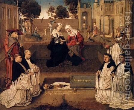 Four Canons with Sts Augustine and Jerome, with the Visitation by Dutch Unknown Masters - Reproduction Oil Painting