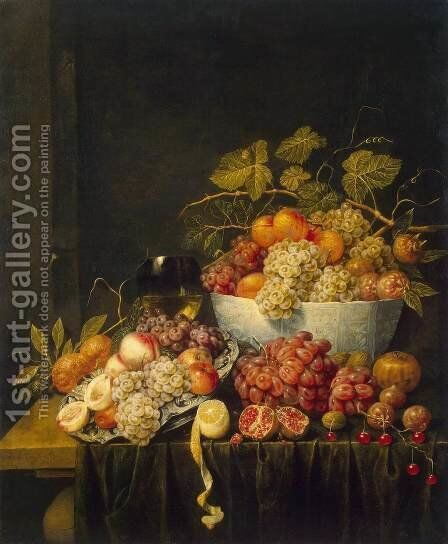 Still-Life with Grapes by Adriaen van Utrecht - Reproduction Oil Painting