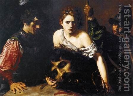 David with the Head of Goliath and Two Soldiers by Jean de Boulogne Valentin - Reproduction Oil Painting