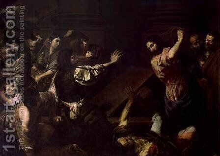 Expulsion of the Money-Changers from the Temple by Jean de Boulogne Valentin - Reproduction Oil Painting