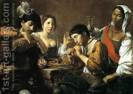 Musician and Drinkers by Jean de Boulogne Valentin - Reproduction Oil Painting
