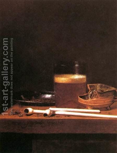 Still-Life with a Mug of Beer by Jan Jansz. Van De Velde - Reproduction Oil Painting