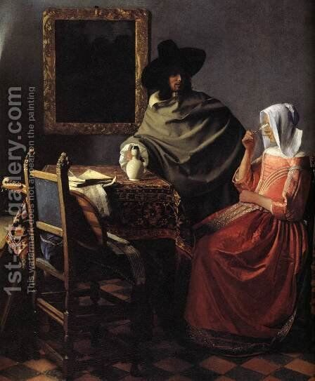 A Lady Drinking and a Gentleman (detail) by Jan Vermeer Van Delft - Reproduction Oil Painting