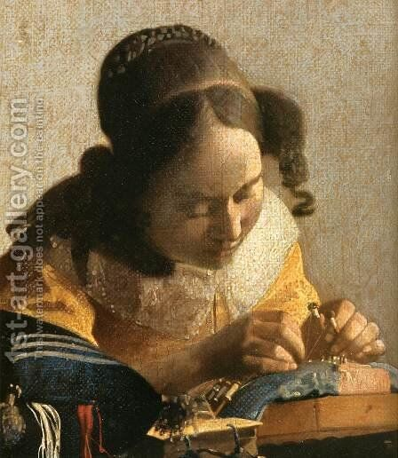 The Lacemaker (detail) by Jan Vermeer Van Delft - Reproduction Oil Painting