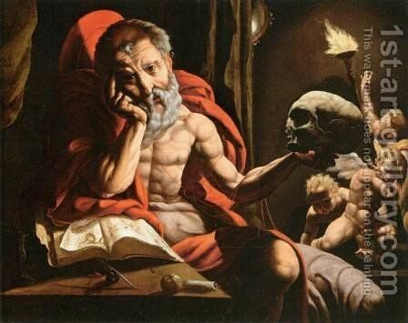 St Jerome Meditating by Jan Cornelisz Vermeyen - Reproduction Oil Painting