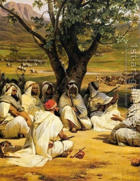 Arab Chieftains in Council (The Negotiator) by Horace Vernet - Reproduction Oil Painting