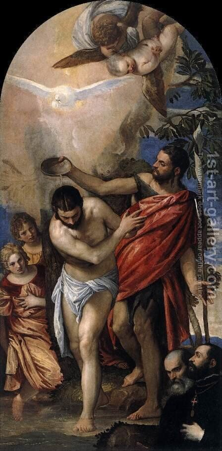 Baptism of Christ 2 by Paolo Veronese (Caliari) - Reproduction Oil Painting
