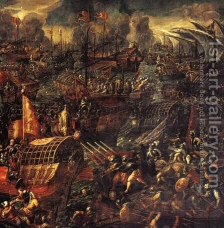 Battle of Lepanto (detail) by Andrea Michieli (see Vicentino) - Reproduction Oil Painting