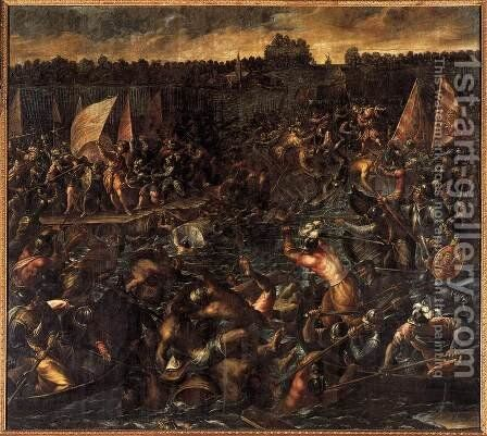 King Pippin's Army Trying to Reach Venice by Andrea Michieli (see Vicentino) - Reproduction Oil Painting