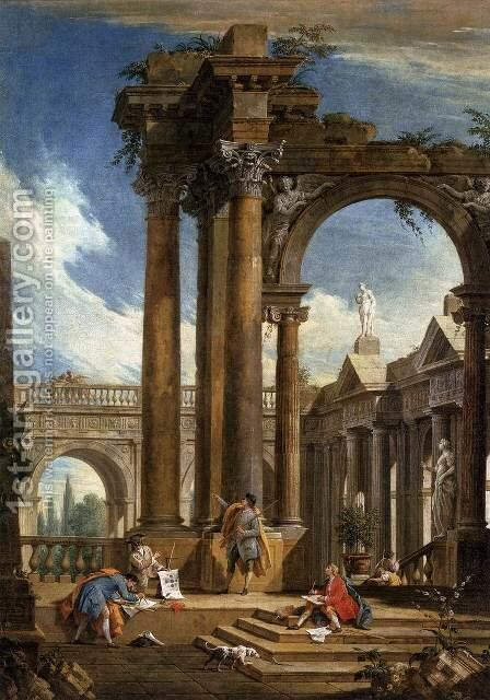 Architectural Fantasy by Antonio Visentini - Reproduction Oil Painting