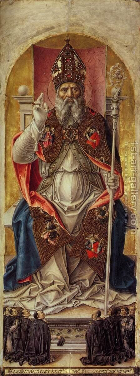 St Ambrose Polyptych (central panel) by Bartolomeo Vivarini - Reproduction Oil Painting