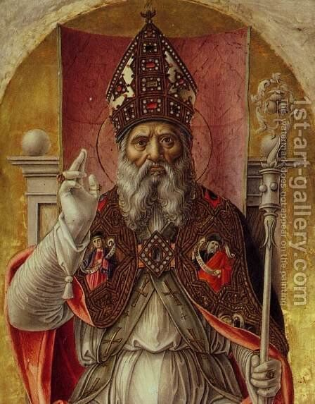 St Ambrose Polyptych (detail) by Bartolomeo Vivarini - Reproduction Oil Painting