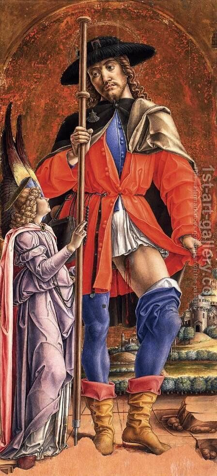St Roch and the Angel by Bartolomeo Vivarini - Reproduction Oil Painting