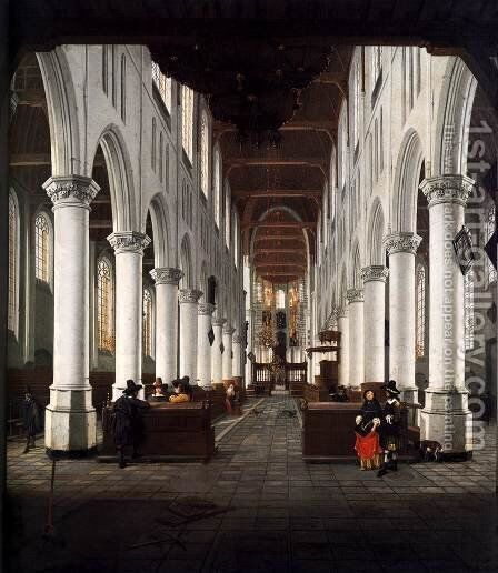 Interior of the Nieuwe Kerk, Delft, from beneath the Organ Loft at the Western E by Hendrick Van Vliet - Reproduction Oil Painting