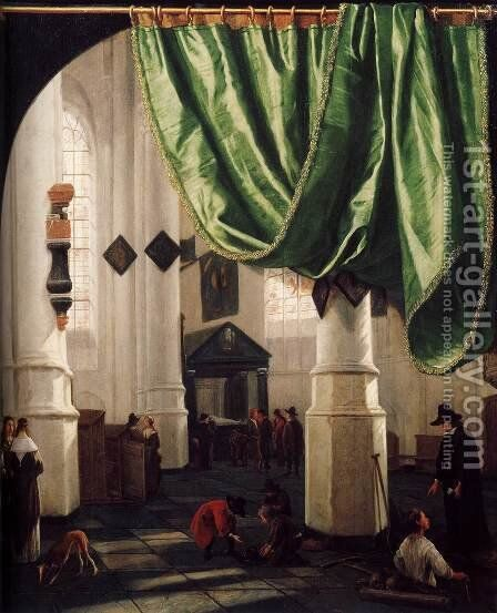 Interior of the Oude Kerk, Delft, with the Tomb of Piet Hein by Hendrick Van Vliet - Reproduction Oil Painting