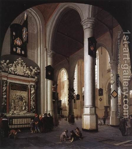Interior of the Oude Kerk, Delft, with the Tomb of Admiral Tromp by Hendrick Van Vliet - Reproduction Oil Painting