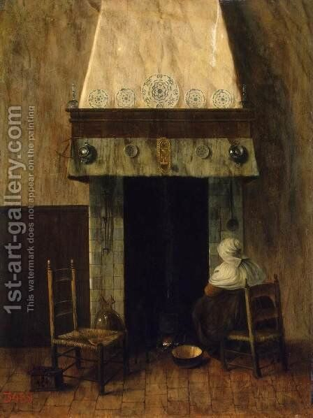 An Old Woman by a Fireplace by Jacobus Vrel - Reproduction Oil Painting